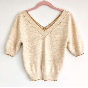 Soft Crop Top Angora Sweater with Lurex